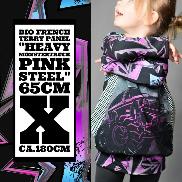 "Panel ""Heavy MonsterTruck Pink Steel""  Bio French Terry"