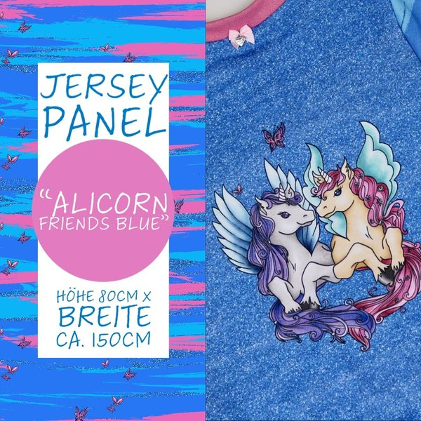 "Jersey Panel ""Alicorn Friends"" Blue"
