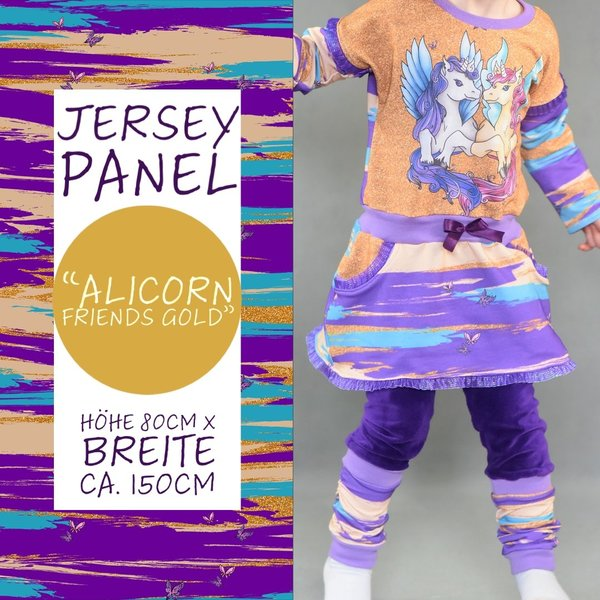"Jersey Panel ""Alicorn Friends"" Gold"