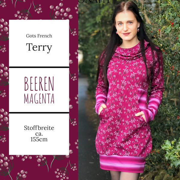 Gots French Terry Beeren magenta